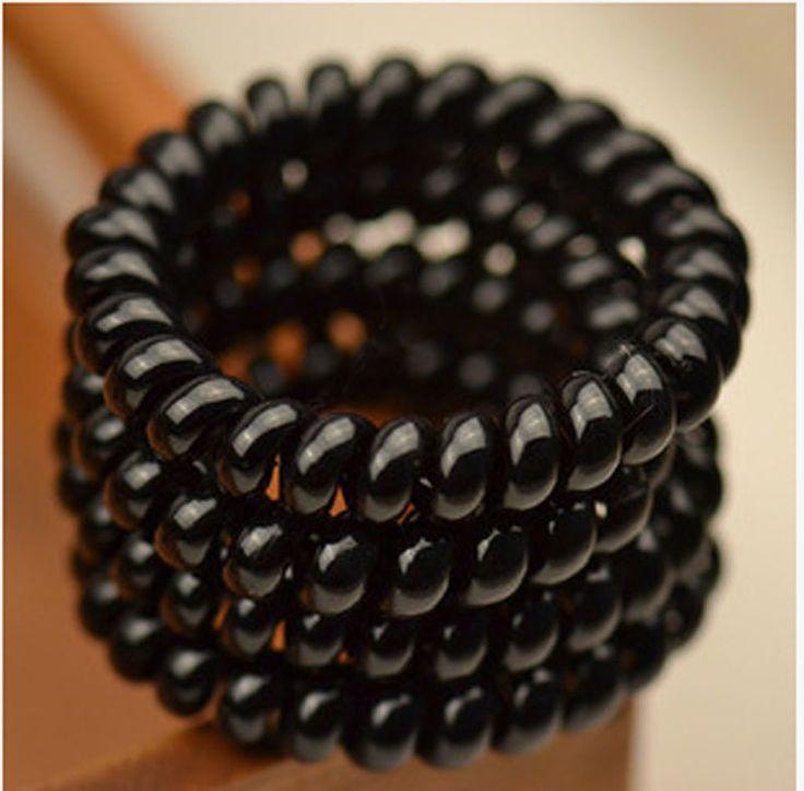4 Unids/lote Mujeres Muchachas de Las Señoras Cintas Para el Pelo Nuevo Negro Estilo Cable Telefónico Cintas para el Pelo y Plástico de Goma Elástica Cuerda de Pelo accesorios