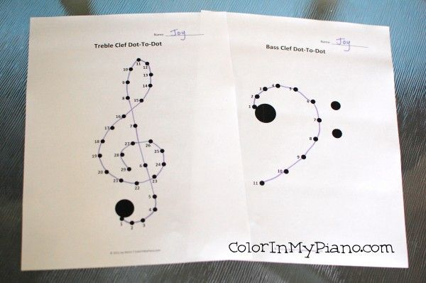 Free dot-to-dot worksheets of the treble and bass clefs - great for beginner piano students!
