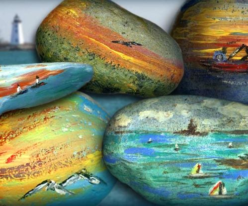 An idea for painting beach scenes on rocks and stones