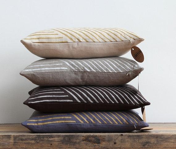Metallic silver & taupe handprinted organic linen pillow cover | Chanee Vijay Textiles