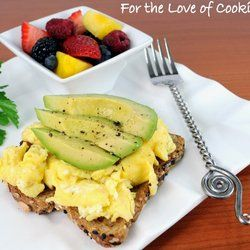 Fluffy Scrambled Eggs And Avocado Slices On Toast | Recipe | The o ...