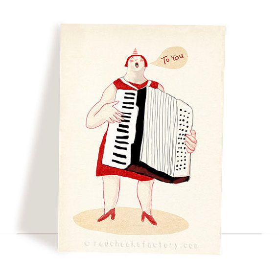 Set of 4 various music postcards - music greeting cards - music illustration - birthday postcard set - musicians - accordion - cello