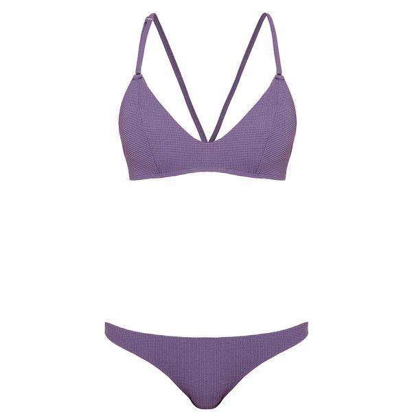 Bower Babini Textured Violet Bikini Set ($76) ❤ liked on Polyvore featuring swimwear, bikinis, strappy swim top, strappy bikini swimwear, bikini swimwear, strappy bikini top and strap bikini