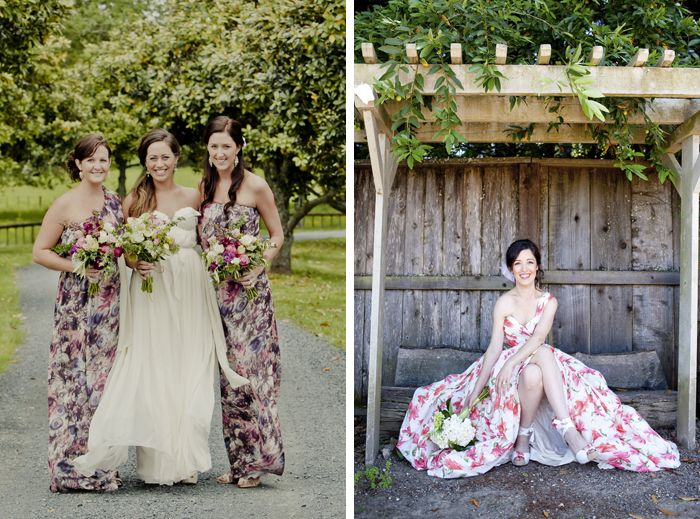 Floral Print Wedding Dress with Bow – Fashion dresses