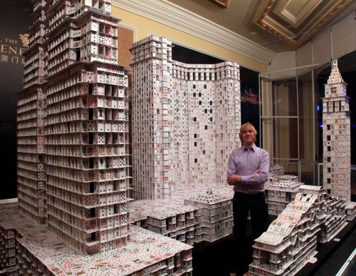 Guiness World Record House of Cards...Bryan Berg spent 44 days intricately building a model of the Venetian Macau Casino in China.