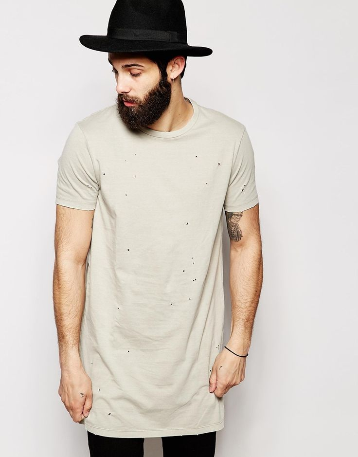 ASOS+Super+Longline+T-Shirt+With+Distressed+Appearance+And+Relaxed+Skater+Fit