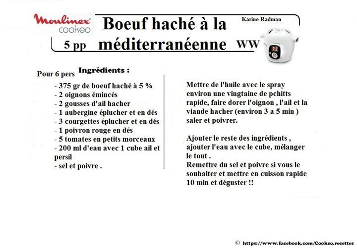 Boeuf haché à la méditerranéenne façon WW METTRE 700G DE HACHE A 5% POUR 6 PERS WW 7PP + RIZ A COMPTER