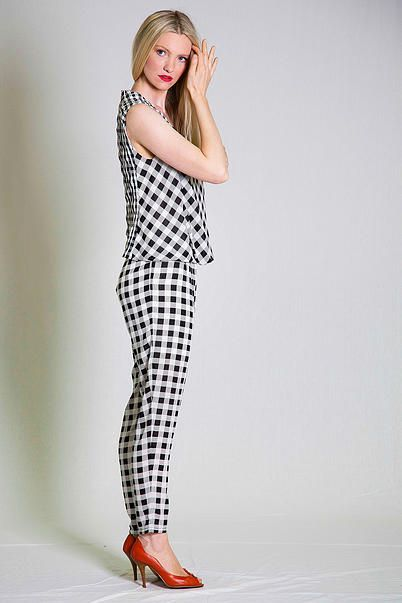 Black and White Check Stripe Contrast top and Pants