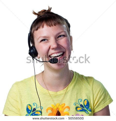Call center worker smiling happily, talking with customers