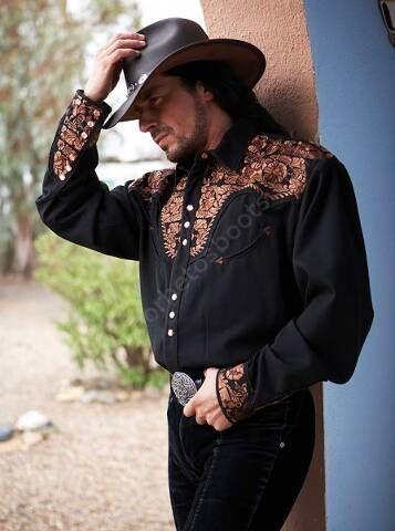50-Serrano | Camisa vaquera para hombre de la marca Stars & Stripes con espectaculares bordados en pecho, espalda y puños a la venta en Corbeto's Boots.