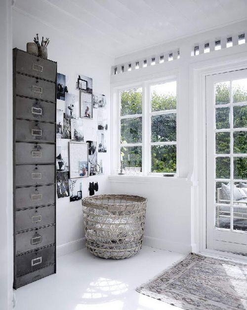 Scandinavian entryway. Grey, white, light.