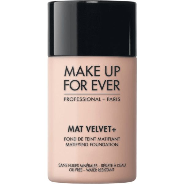 Mat Velvet + - Foundation – MAKE UP FOR EVER ❤ liked on Polyvore featuring beauty products, makeup, face makeup, foundation, make up for ever foundation, oil free foundation and make up for ever