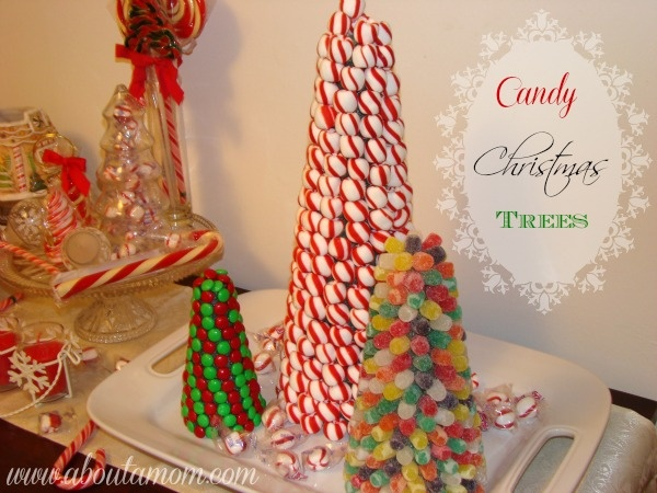 Candy Christmas Trees Holiday Centerpiece