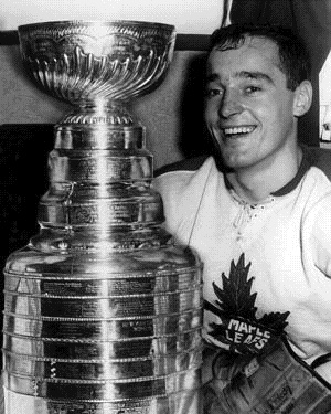 Frank Mahovlich, the Big M, seen here after the Leafs Cup win of 1963. He tied the playoff record for points in 1971 with 27 ( since broken)  with the Montreal Canadiens.