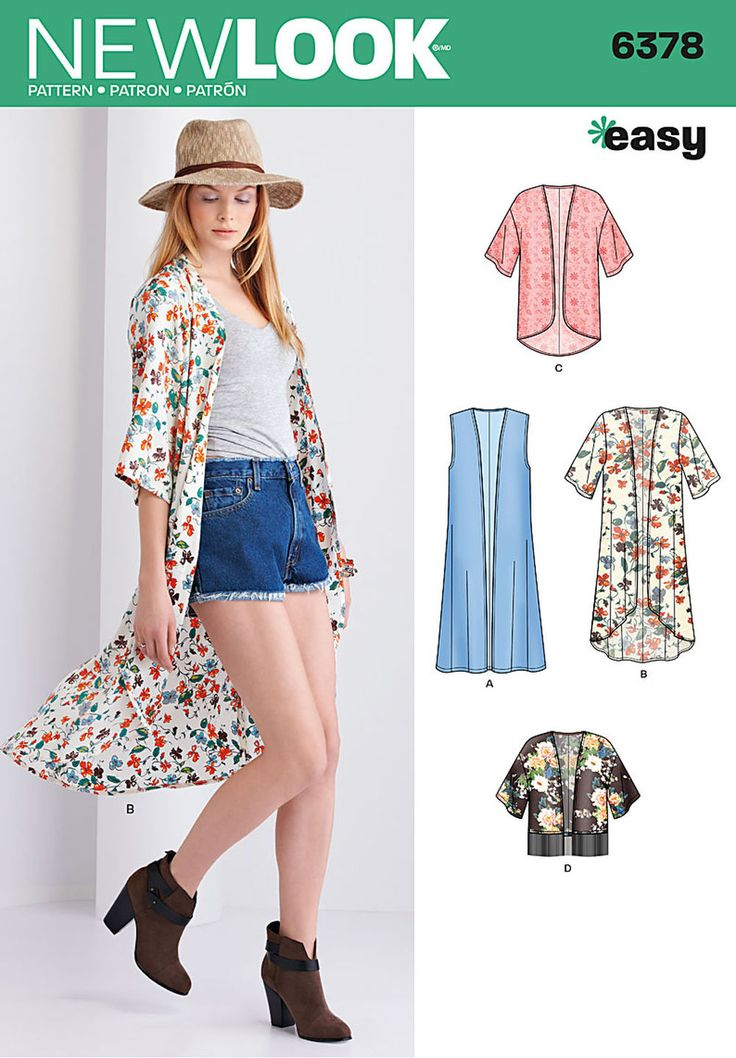 this easy kimono pattern includes long high low kimono and short kimono with half sleeves, cropped kimono with fringe hem, and floor length kimono vest. new look sewing pattern.