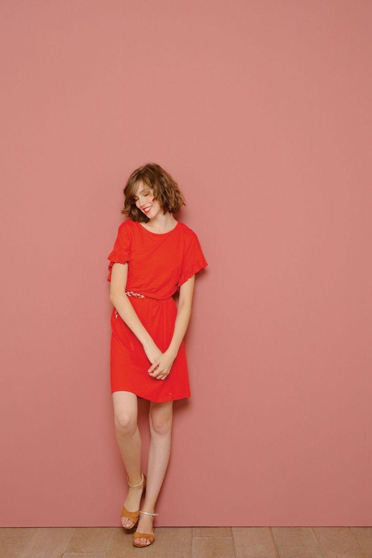 Robe joakimi rouge - 55% lin, 45% viscose