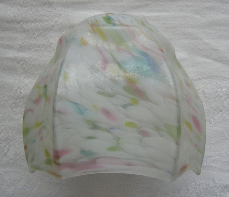 Vintage white / multicoloured flake glass hexagonal pendant lampshade / light shade (c.1920s-30s) (SOLD) - www.vanishederas.com