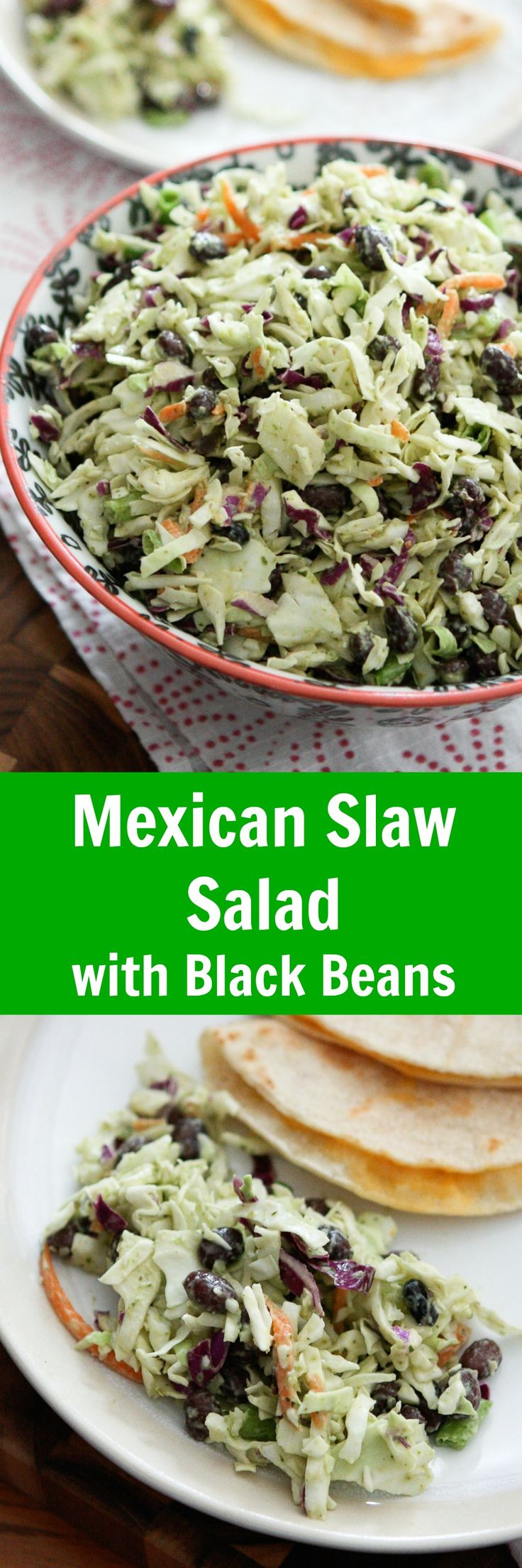 This Mexican Slaw Salad with Black Beans is the perfect addition to any dinner, potluck or fiesta!! It's tangy Avocado Lime Dressing is OUT OF THIS WORLD! We love it served with simple cheese quesadillas or enchiladas.