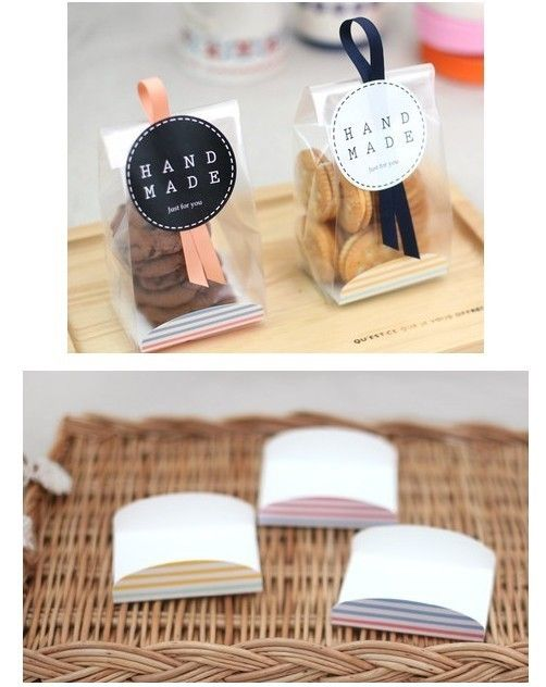 Baking packaging fresh stripes translucent bag + pallet bags bags Valentine cookies 5 sets - Taobao