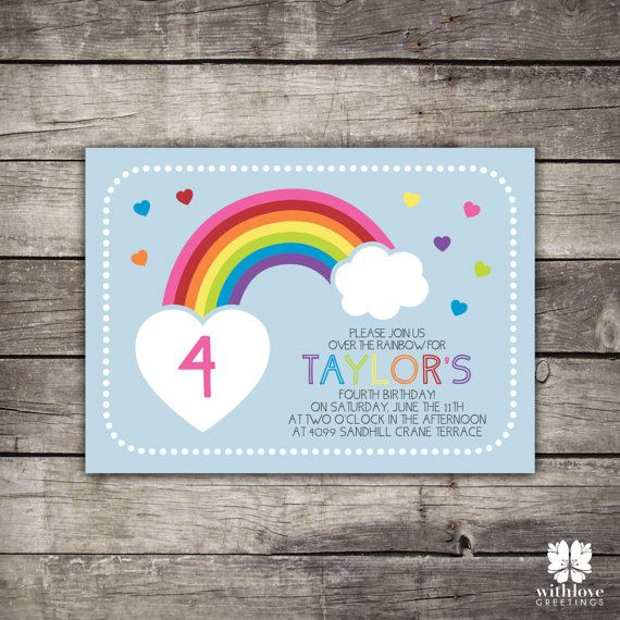 Rainbow Birthday Party Invitation by withlovegreetings on Etsy, $15.00