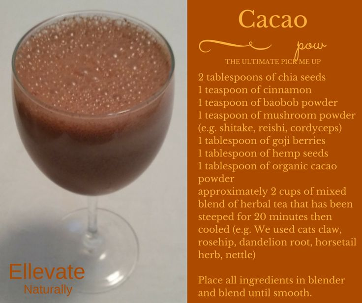 Cacao power drink https://www.facebook.com/ellevatenaturally/photos/a.512672888762584.128986.512666322096574/968728539823681/?type=1&theater