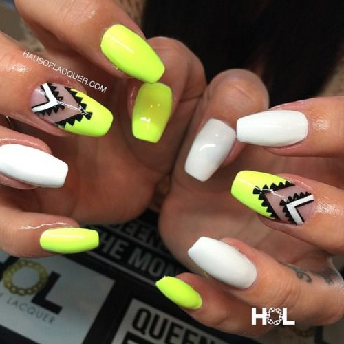 Neon Aztec nails by HOL