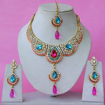 Indian bridal peacock colors pink aqua blue and white for Bridesmaid jewelry sets under 20