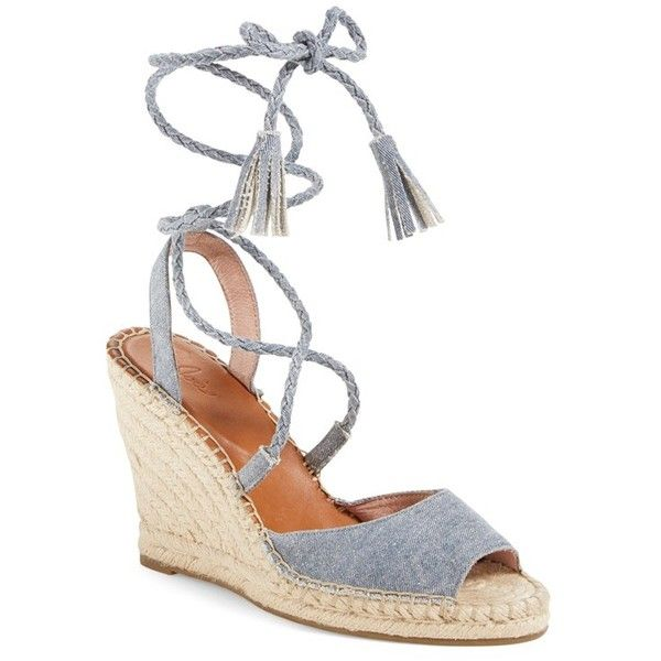 "Joie 'Phyllis' Espadrille Wedge, 4"" heel ($193) ❤ liked on Polyvore featuring shoes, sandals, denim fabric, high wedge sandals, braided wedge sandals, wedge espadrilles, high heel shoes and braided sandals"