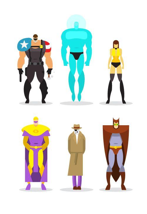 Flat heroes on Behance