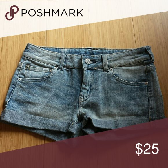 MANGO denim shorts Cute denim shorts. Never worn. Size 0 Mango Shorts Jean Shorts