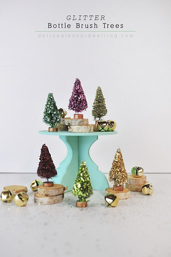 Glitter Bottle Brush Trees, http://Delineateyourdwelling.com