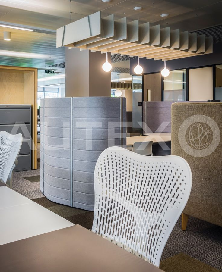 Quietspace® Lattice, Trapezium - Acoustic Baffles - Overbury, UK - Suspended from ceiling - Colour: Opera - Modern Office Space