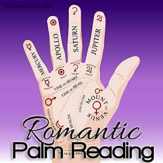 A guide to romantic palm reading including a heart line and marriage line analysis and other relationship and love factors.