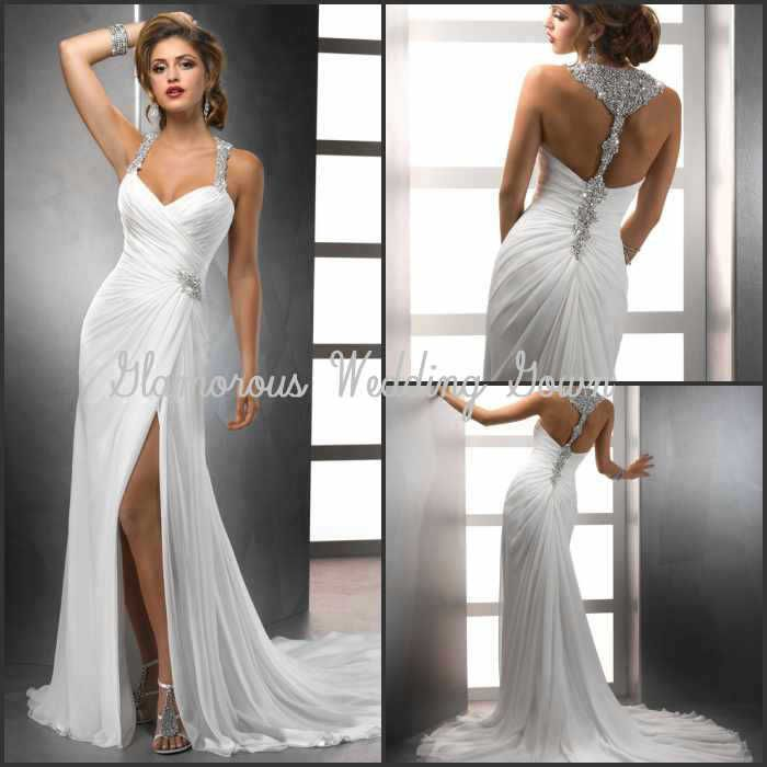 Find More Wedding Dresses Information About New Arrival 2014 Spaghetti Strap Crystals Backless Chiffon