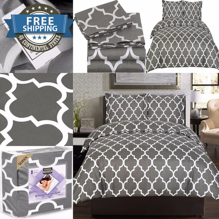 Bedding Set,Queen Size,Comforter Cover,Matching Sets Twin,3 Pc,Microfiber gray #UtopiaBedding