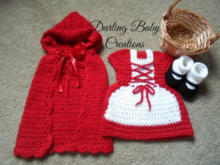 Crochet Little Red Riding Hood Set Costume:  Includes Cape, Dress & Booties.   Sizes Newborn-12 Mths. Great For Halloween! by DarlingBabyCreations on Etsy