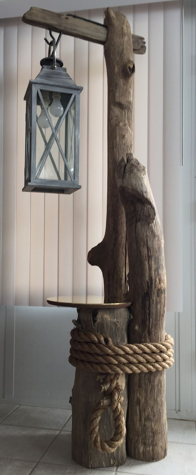 Wood outdoor lamp post - Ohio River Driftwood Converted Lantern Brass Table Top And Massive Rope Allcome Together Perfectly For This Awesome Nautical Feel Floor Lamp
