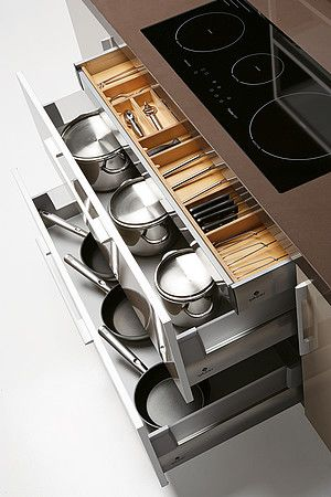 Quatro Gloss  Large Kitchen with Smart Storage Solutions : Smart Kitchen  Storage With Glossy Brown And Stainless Steel Hidden Storage