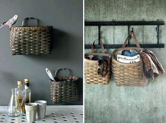 Wall Hanging Storage Basket Modern Boho Nursery Decor Light