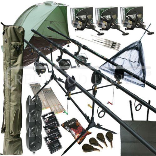 Oakwood Carp Fishing Set Up With Rods Reels Alarms Net Holdall Bait Bivvy Tackle 3 X Carp Rods 3 X 2 Piece 12ft Carp Rods Carp Fishing Bait And Tackle Fish