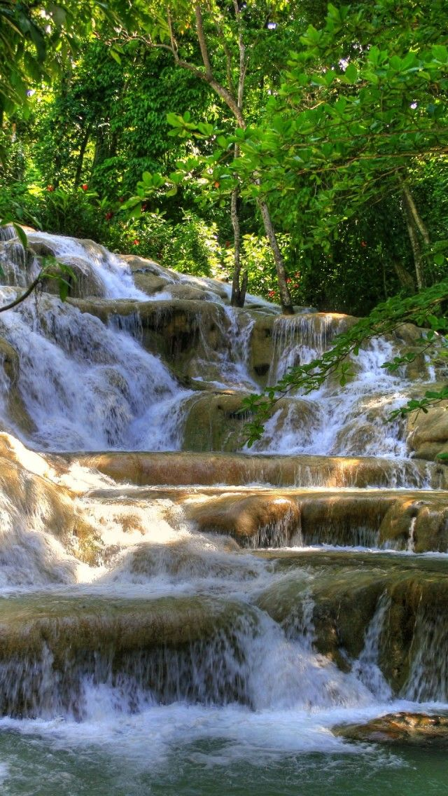 Dunn River Waterfalls, Jamaica iPhone 5 wallpapers, backgrounds, 640 x 1136