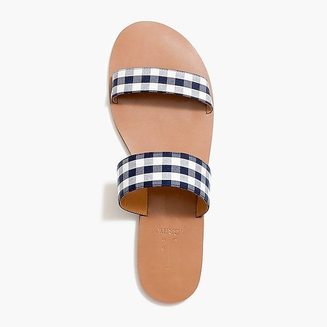 Easy summer slide sandals in gingham