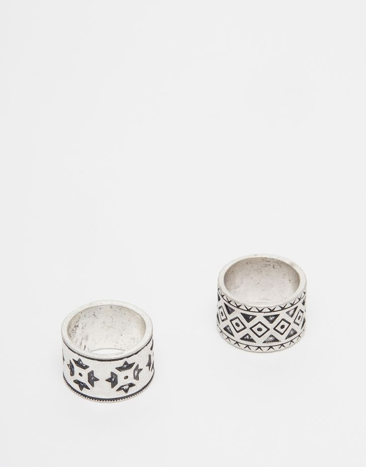 """Ring by ASOS Silver-tone finish Engraved designs Wide shanks 100% Zinc Measurements: SM: 19mm/0.75"""" ML: 21mm/0.84"""" Pack of two"""