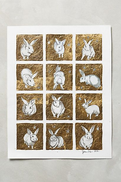 Gilded Bunny Grid Print #anthropologie