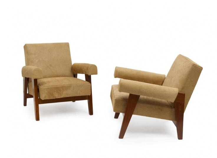 Pierre jeanneret le corbusier paire de fauteuils bas dits for Bauhaus sofa le corbusier
