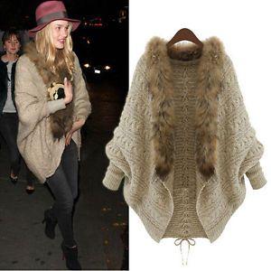Invierno-Mujer-Loose-Fur-Collar-Sweater-BATWING-MANGA-chaqueta-de-punto-chaqueta-de-abrigo
