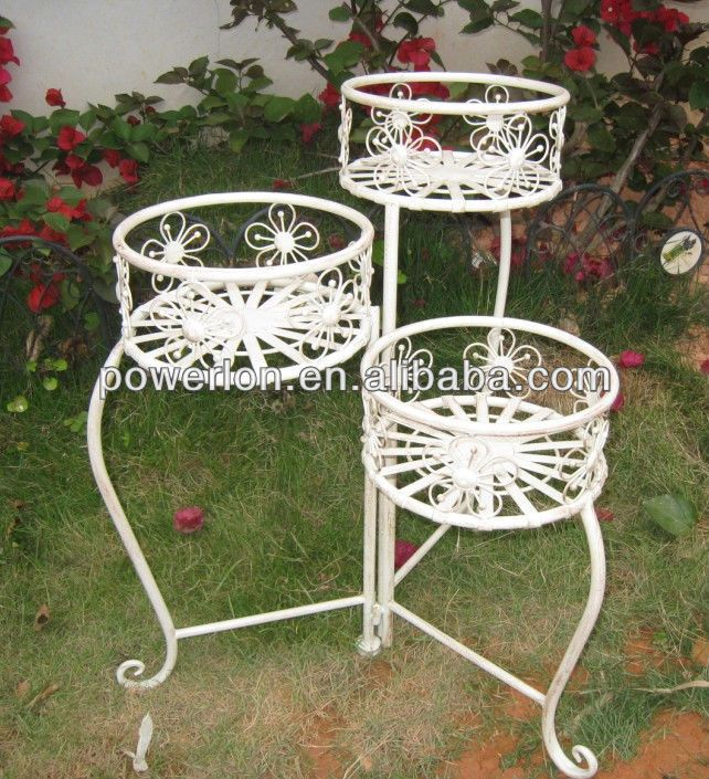 Beautiful Floral Design Anti White Wrought Iron Flower Pot Stands ...