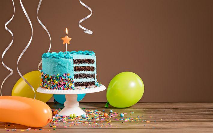 Lataa kuva Hyvää Syntymäpäivää, Värikäs ballones, Syntymäpäivä kakku, jälkiruoka, kynttilät, sisustus