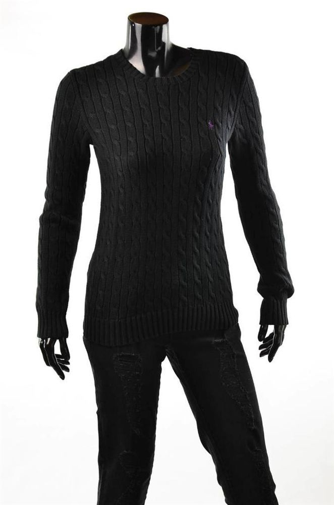 Ralph Lauren Sweater NWT Womens Black Crew Cotton Cable Pullover Sweaters  Sz M