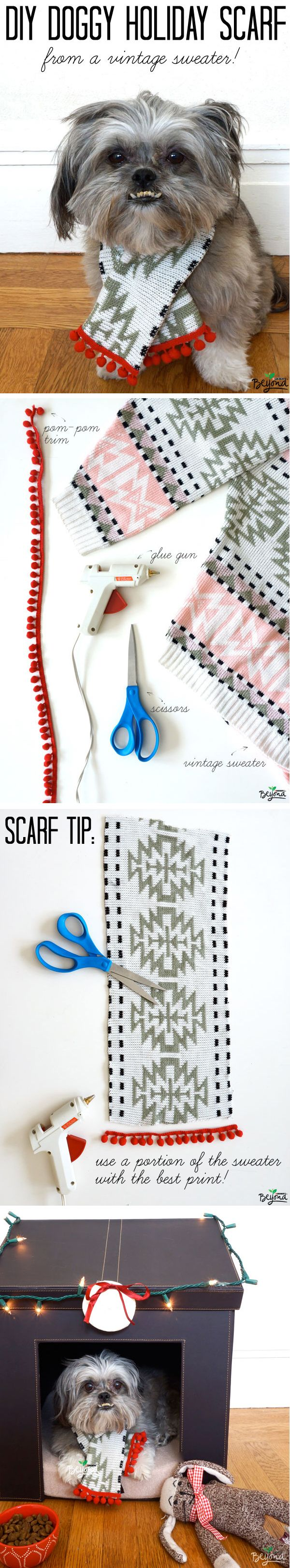 #DIY Doggy Holiday Scarf. The supplies you'll need: an old sweater, contrast pom-pom trim, scissors, and a glue gun.  Choose a portion of the sweater that has the best print. For larger dogs, make sure you're using a large sweater. To add pom-pom trim, just add hot glue. Fold scarf edges over for no-fray edges and you're done. No sewing necessary! Put your old sweaters to good use this holiday season and upcycle a scarf for your dog. #thinkbeyond #commissioned